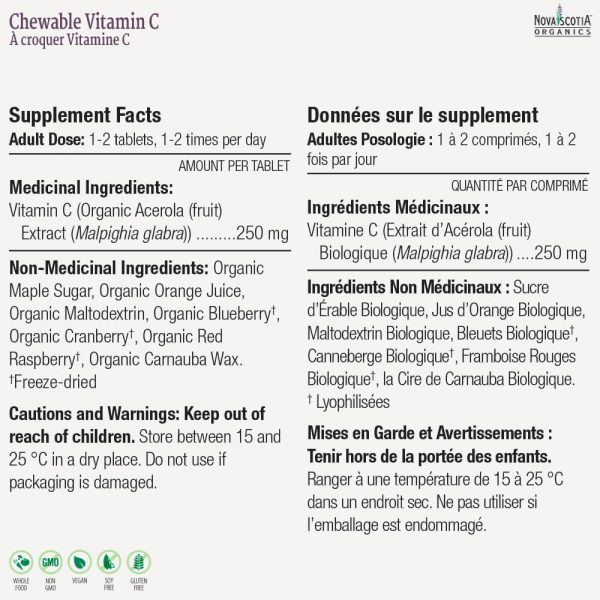 Chewable Vitamin C nutritional information