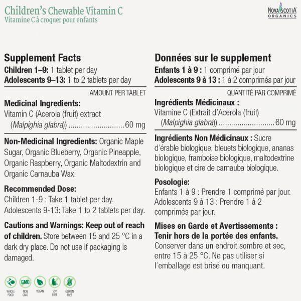 Children's Chewable Vitamin C nutritional information