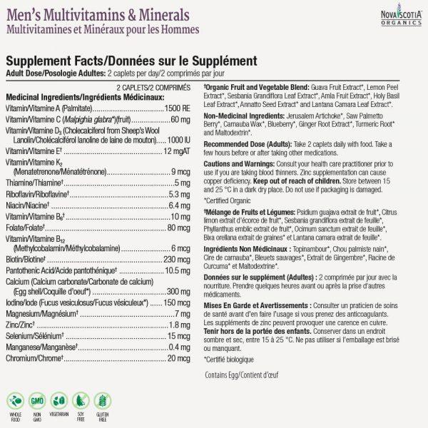 men's multivitamin nutritional information