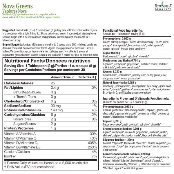 Nova Greens nutritional information