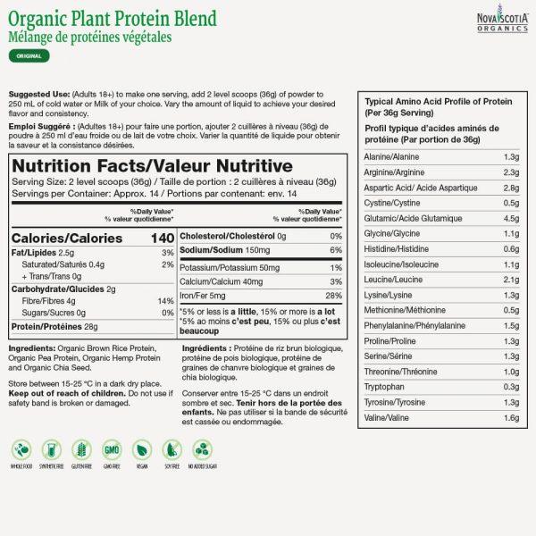 Organic Plant Protein Blend (Original) nutritional information