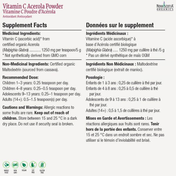 vitamin c powder nutritional information