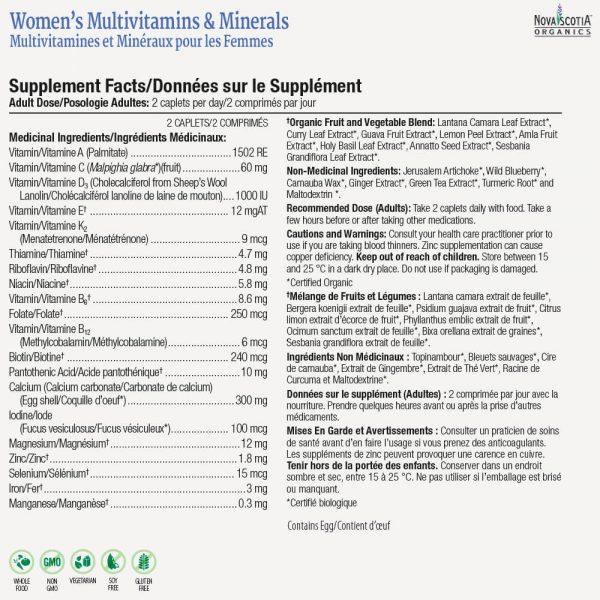 women's multivitamin nutritional information